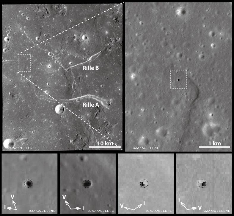 Imágenes de la fosa Marius Hills, según lo observado bajo diferentes condiciones de iluminación solar por la SELENE/Kaguya Terrain Camera and Multiband Imager