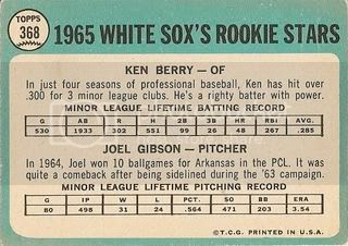 #368 White Sox Rookie Stars: Ken Berry and Joel Gibson (back)