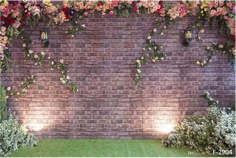 2017 10x6ft Vintage Brick Flower Wall Backdrop Wedding