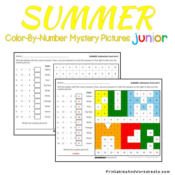 Summer Subtraction Facts Color-By-Number - Printables ...