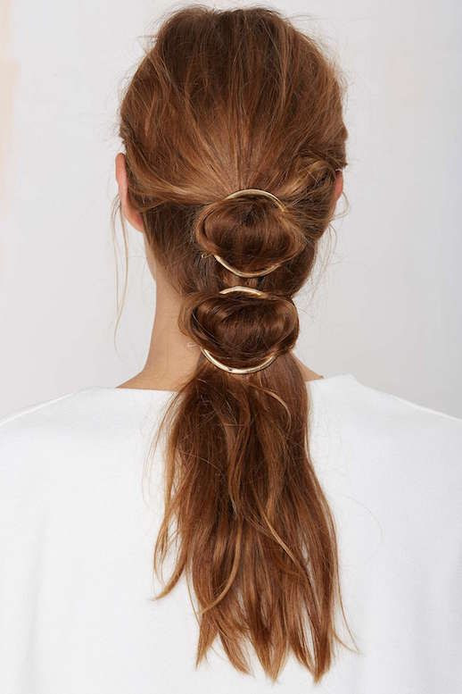 Le Fashion Blog 15 Ways To Wear Round Circle Hair Clip Pin Accessory Hairstyle Wavy Double Ponytail Via Nasty Gal