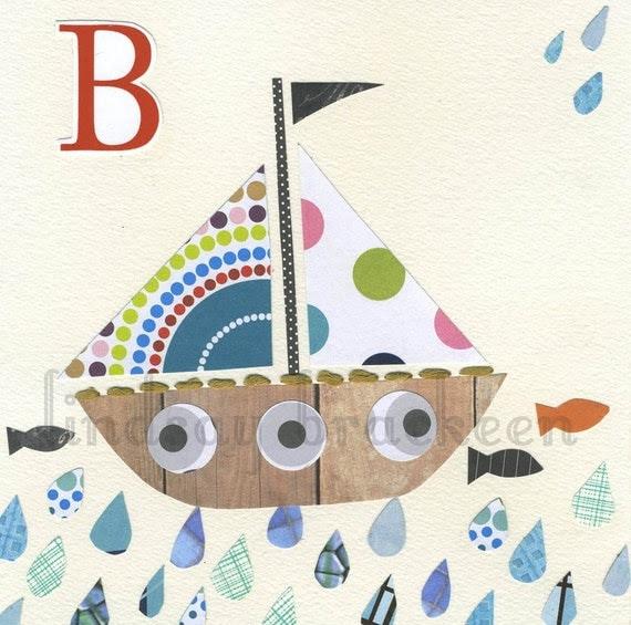 Alphabet Nursery Art Print Letter B as in Boat