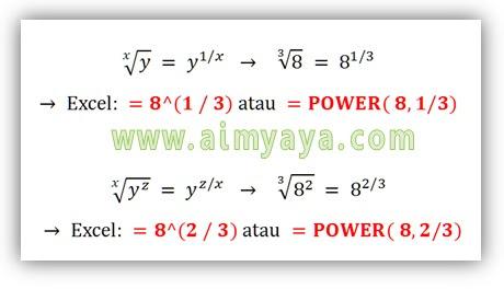 Gambar:  Rumus dasar perhitungan akar kwadrat/pangkat dari sebuah bilangan dan contoh penerapannya di  microsoft excel