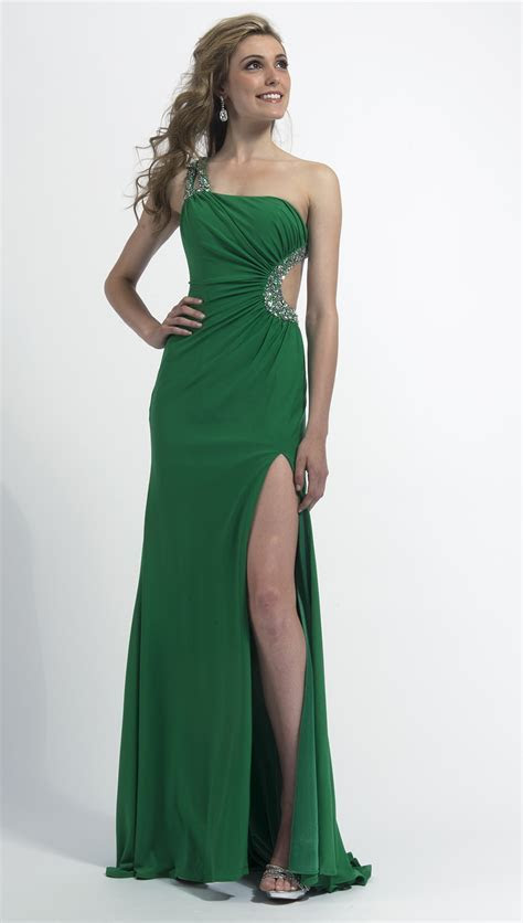 Clarisse 2014 Red One Shoulder Stretch Jersey Cut Out Prom