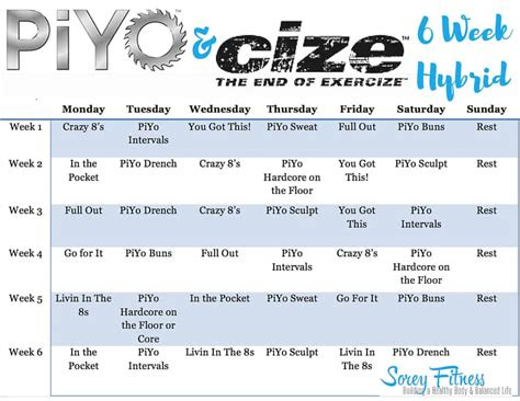 Workout Schedule For Piyo