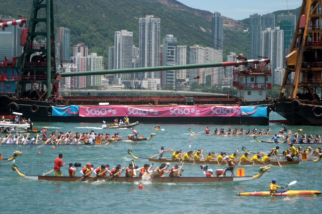 Dragonboats crossing Victoria Harbour