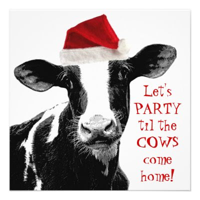 Let's PARTY til the COWS come home! - Funny Christmas Party Personalized Announcements