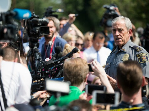 Michael Brown, Alexandria Chief of Police, briefs members of the press near Eugene Simpson Field, the site where a gunman opened fire June 14, 2017 in Alexandria, Virginia. Multiple injuries were reported from the instance, the site where a congressional baseball team was holding an early morning practice, including House Republican Whip Steve Scalise (R-LA) who was reportedly shot in the hip. (Photo by Zach Gibson/Getty Images)