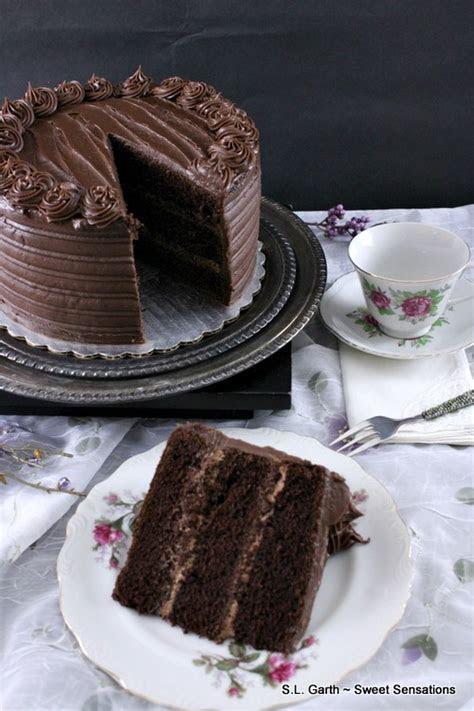 Super Dark Chocolate Cake with Milk Chocolate Lavender Mousse