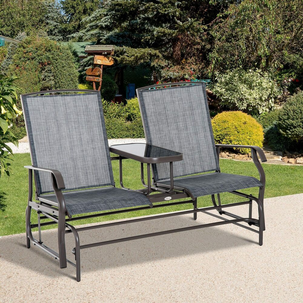 Outsunny 2 Seater Patio Glider Rocking Chair Metal Swing ...