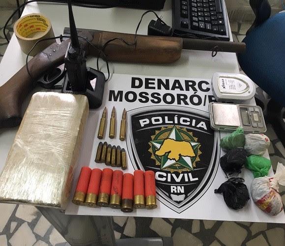 Material apreendido pela Denarc em Mossoró (Foto: Divugação / Polícia Civil)