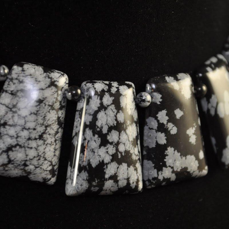 s34799 Stone Beads -  Keystone - Snowflake Obsidian (1)