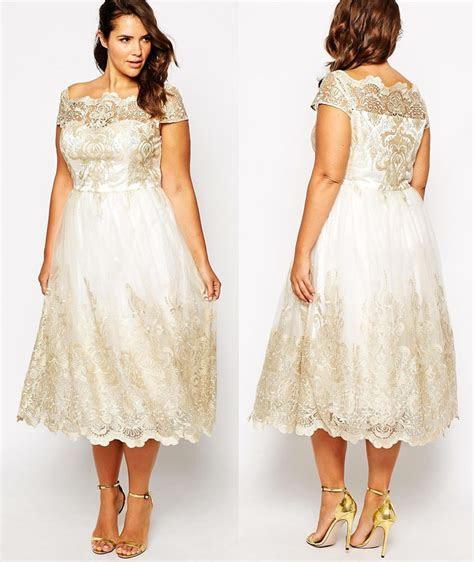 Get This Plus Size Tea Length Wedding Dress