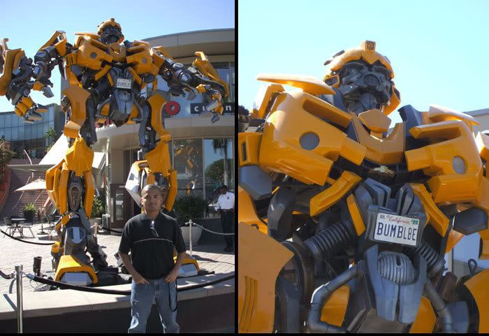 Posing with BUMBLEBEE outside a Hollywood shopping plaza (on the corner of La Brea and Santa Monica Blvd).