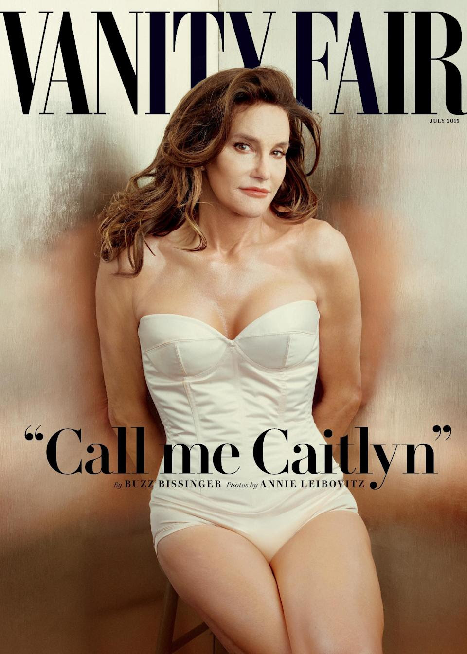 This file photo taken by Annie Leibovitz exclusively for Vanity Fair shows the cover of the magazine's July 2015 issue featuring Bruce Jenner...