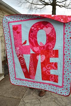 LOVE Quilt Teal and Red Pink Heart Bird by TrueloveQuiltsForYou, $160.00