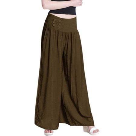 Women's Mid Rise Stetchy Waist Wide Leg Palazzo Pants Brown (Size M \/ 8)