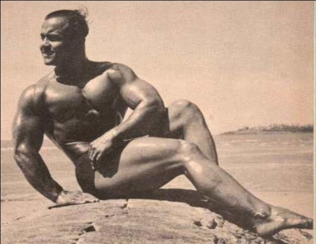 Heyday: The muscular Manohar Aich shortly after being crowned as Mr Universe back in 1952