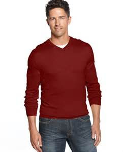 red  neck sweater club room sweater merino blend  neck