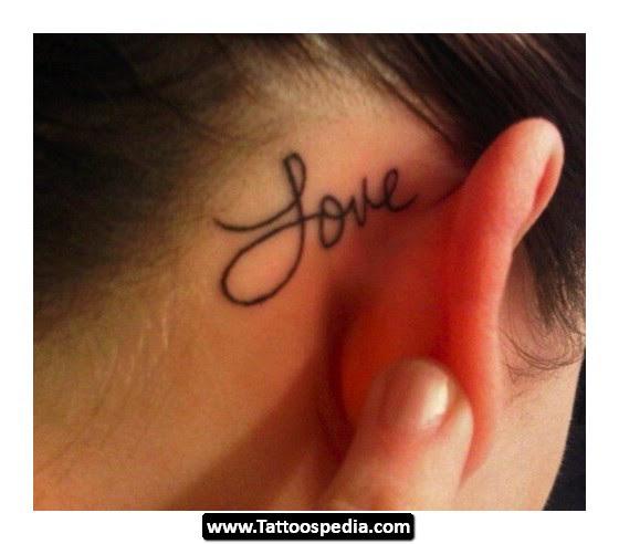 Love Tattoo Behind Ear For Girls