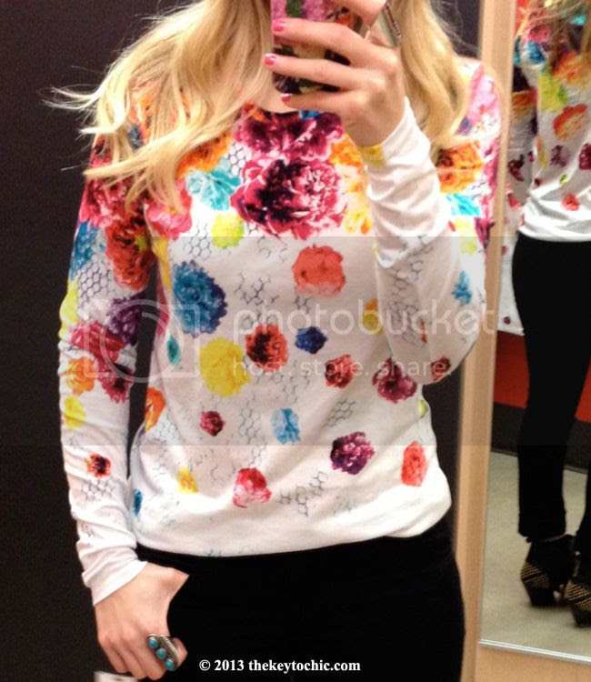 Prabal Gurung for Target floral crush long sleeved t-shirt top, Prabal Gurung for Target fitting room review