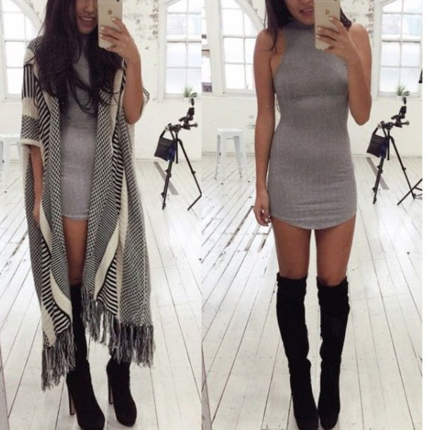 Winter bodycon dress outfit from