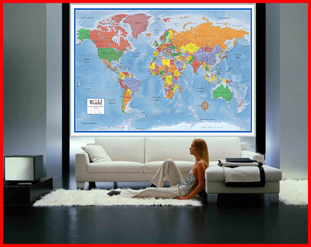 Classic Premier 3d World Wall Map Poster Mural Swiftmaps Com