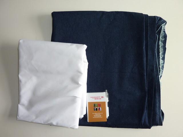 100% White cotton fabric, and plain dark denim