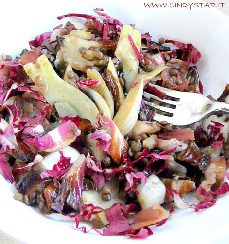 insalata tiepida di lenticchie, radicchio rosso, finocchi e speck