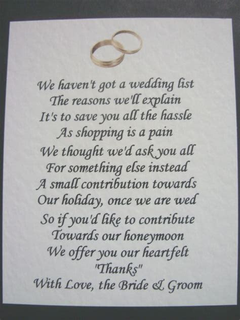 Details about 40 Wedding poems asking for money gifts not