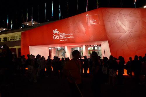 Venice Film Festival at night