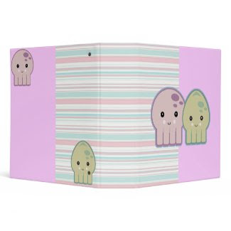 Cute Kawaii Squid and Octopus Striped Notebook binder