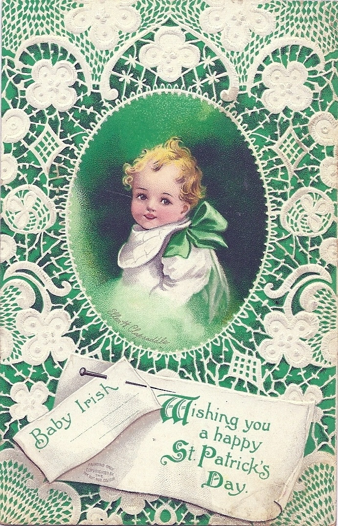 ST. PATRICK'S DAY IRISH POSTCARD Artist Ellen H. Clapsaddle EMBOSSED BABY & LACE | eBay