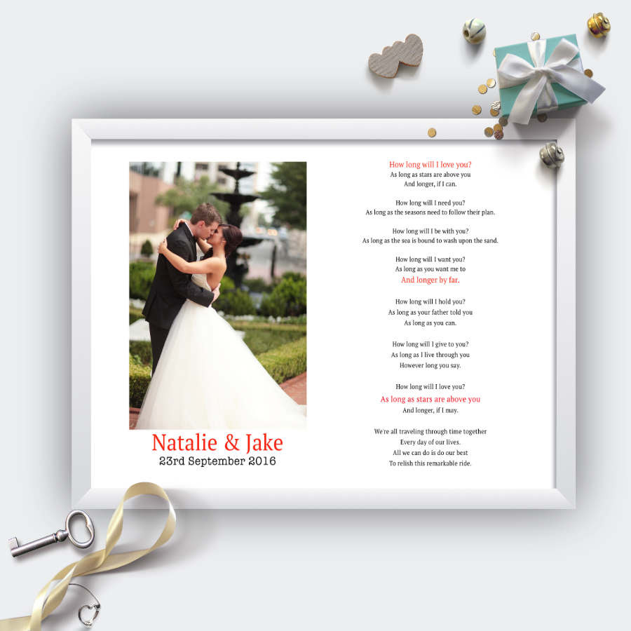 Personalised Wedding Song Lyrics And Photo Print Not Your Ordinary