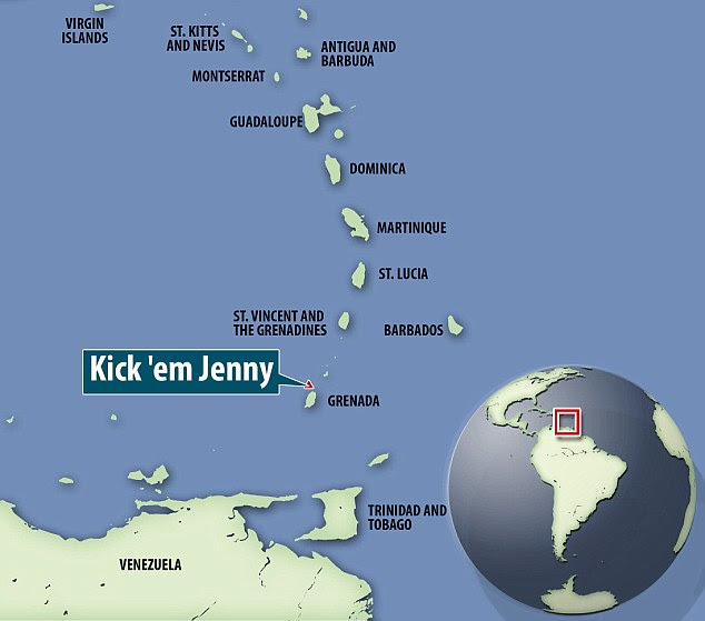 The rumbling volcano is situated just off the north coast of the Caribbean island of Grenada