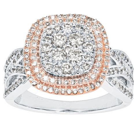 Diamond Cluster Two Tone Ring in 10K White and Rose Gold