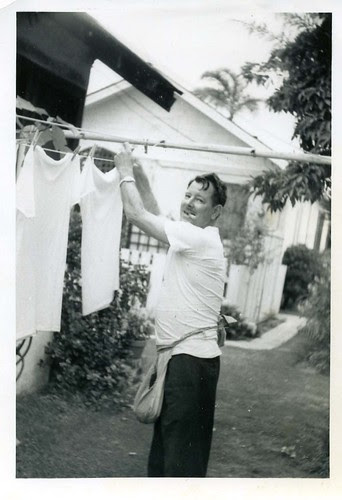 Chuck hanging clothes