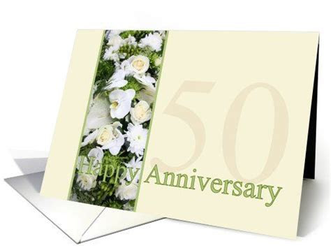 50th Wedding Anniversary White mixed bouquet card   Happy