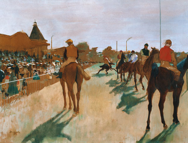Edgar Degas - Racehorses in front of the platforms