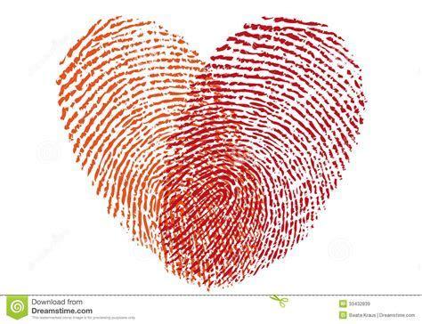 Red Fingerprint Heart, Vector Royalty Free Stock Images