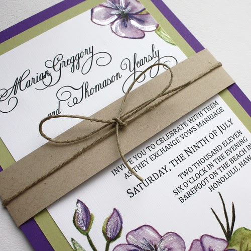 Purple and Green Floral Wedding Invitation Set with Belly Band