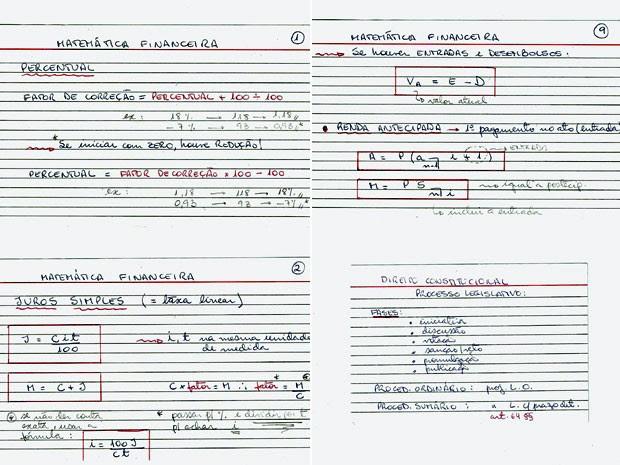 Exemplo de fichas-resumo  (Foto: Lia Salgado/Arquivo pessoal)