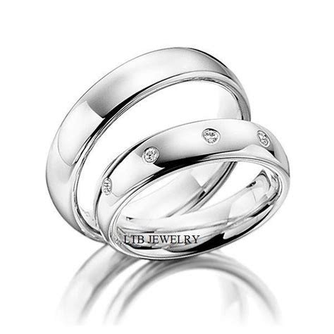 His and Hers Matching Wedding Bands Set,10K White Gold