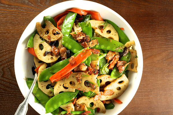 Stir-Fried Lotus Root with Bacon and Vegetables | Wok Wednesdays