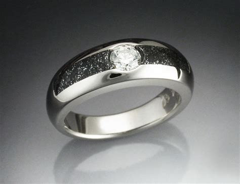 Buy a Custom Made 14k White Gold Ring With Iron Infused