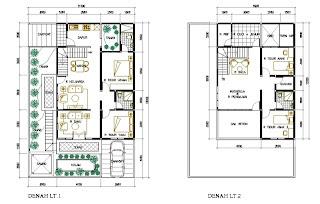 denah rumah minimalis 2 lantai type 200