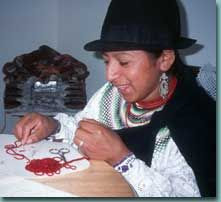 Woman putting beads together