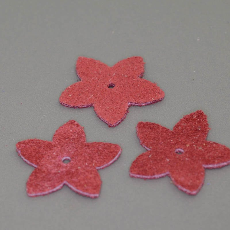 s40569 Leather - Medium Suede Flower - Coral (1)