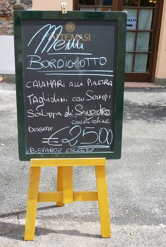 menu del giorno