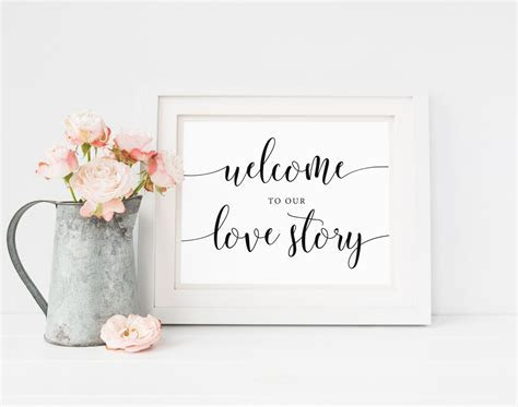 Welcome To Our Love Story Sign, Wedding Welcome Sign
